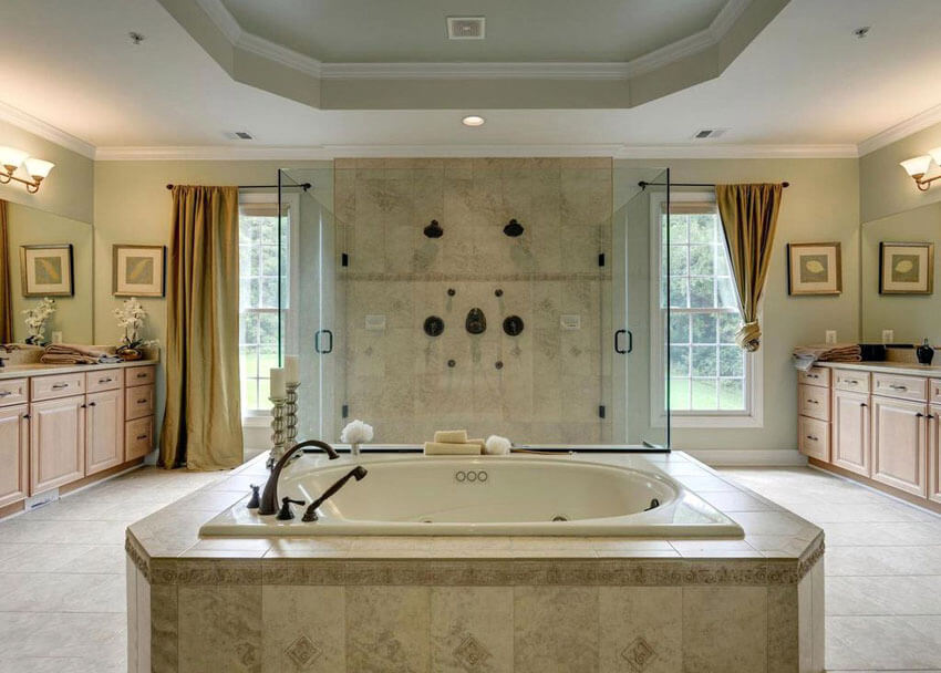 Travertine Shower Ideas Part - 41: Luxury Bathroom With Travertine Tile With Dual Showerheads And Central  Enclosed Tub