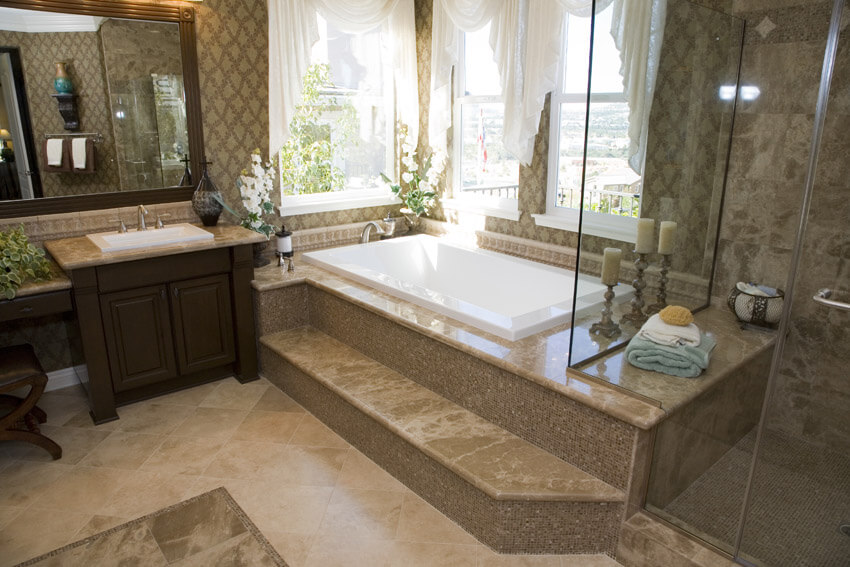 luxury bathroom with white curtains