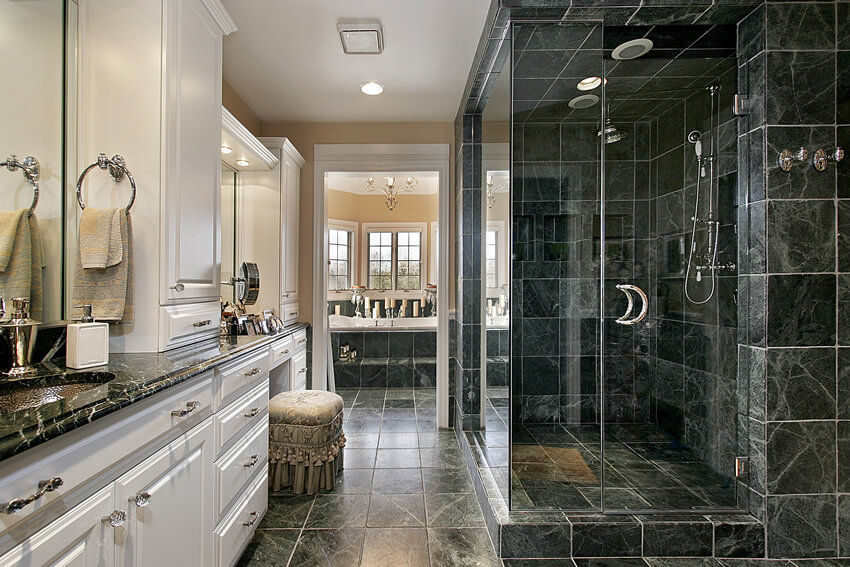 Luxury Black White Bathroom Large Rainfall Shower This Design ...