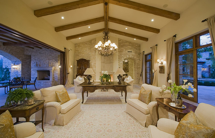 Luxury Living Room Opens To The Garden And Patio