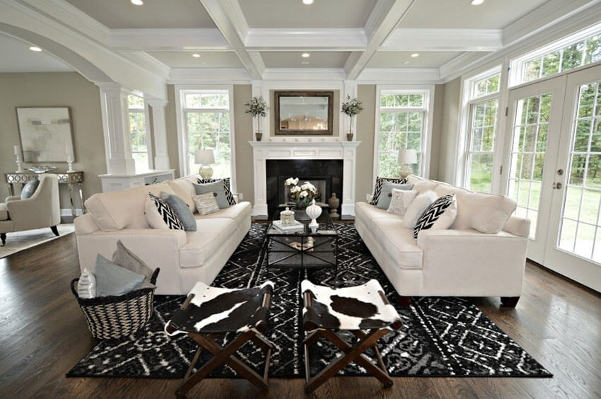 Luxury Living Room With Red Oak Flooring And Beautiful Furnishings