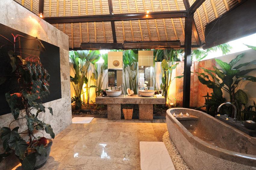 luxury resort bathroom in tropical setting