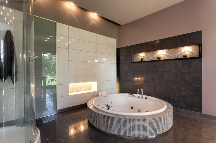 Luxury round bath glass shower large tiles