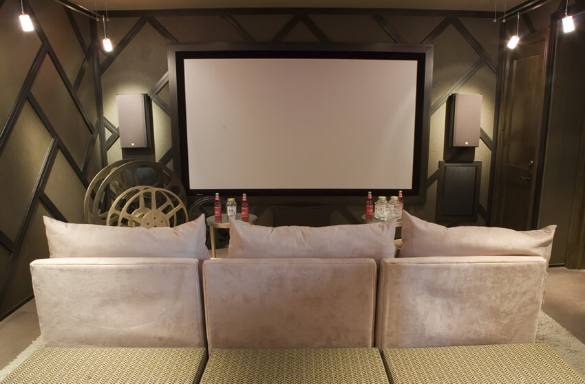 Media Room With Couch And Tables