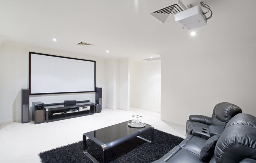 Media Room With Projector Screen