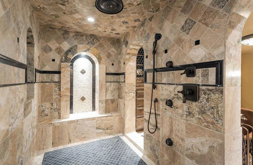 Mediterranean Bathroom Tile Ideas: 21+ Travertine Shower Ideas (Bathroom Designs