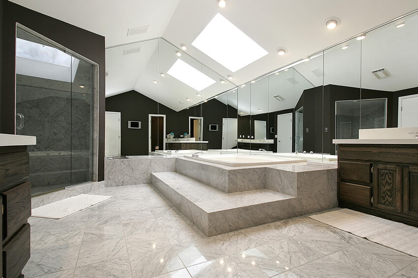 Mirrored master bath extra large tub