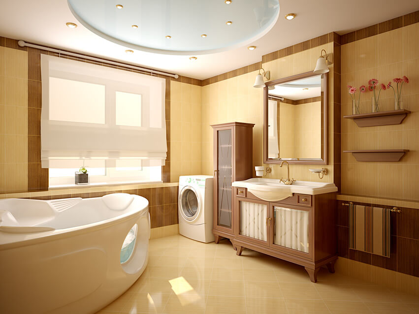 Modern bath room brown color luxury tub