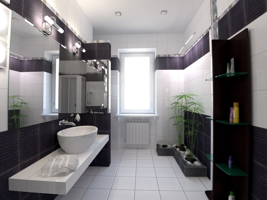 This bathroom design with modern bathroom black white purple vessel sink uses its narrow space in a clever way. The stark white tiled flooring opens up the space, while the oval sink and slab offer enough storage