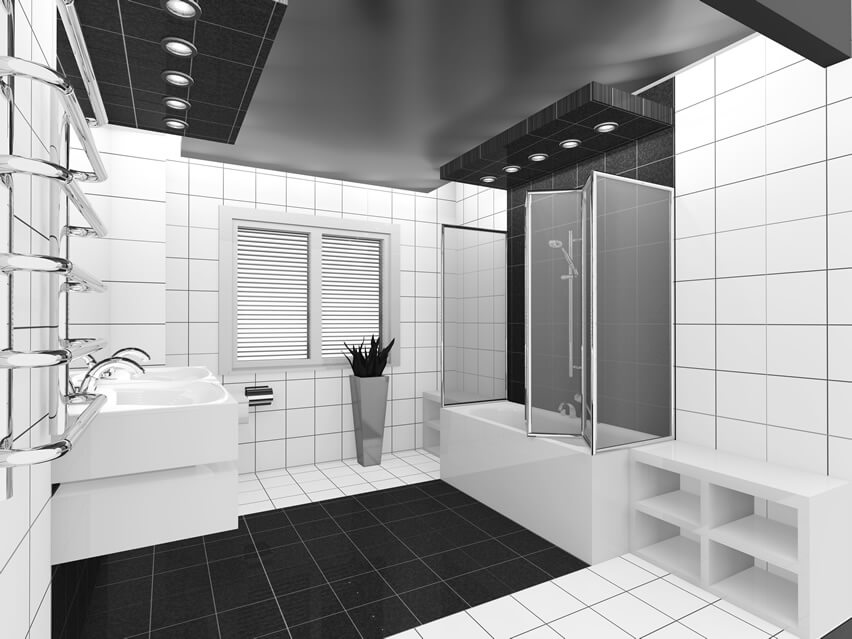 This modern black white bathroom design is ideal for both avid DIYers and lovers of class. The utilitarian design of the vanity and tub, as well as the crisp white walls complements the riot of black which is the room's centerpiece