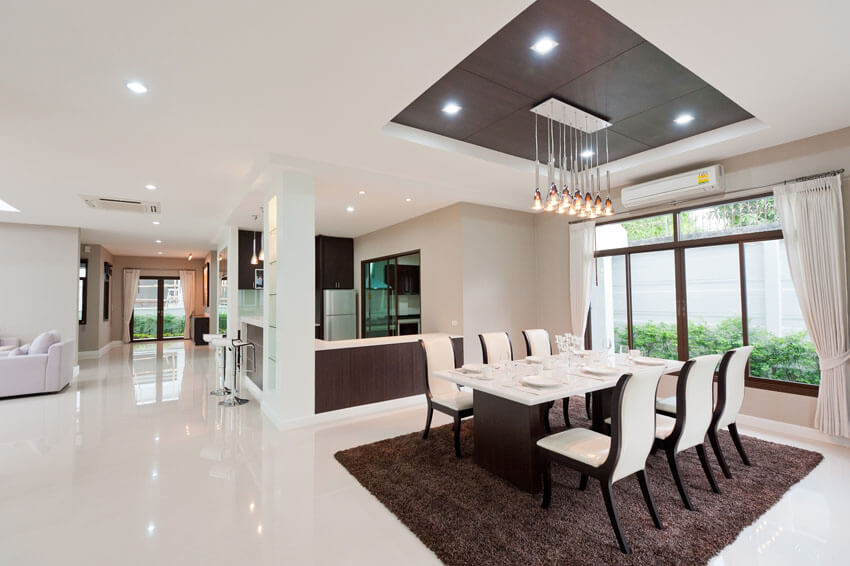 modern dining room with open plan layout