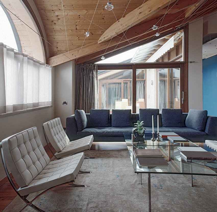 Modern Living Room With Angled Ceiling