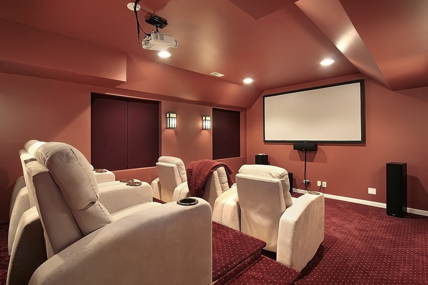 Movie Room With White Reclining Chairs