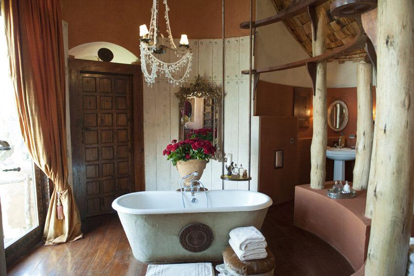 resort bathroom at african lodge tanzania