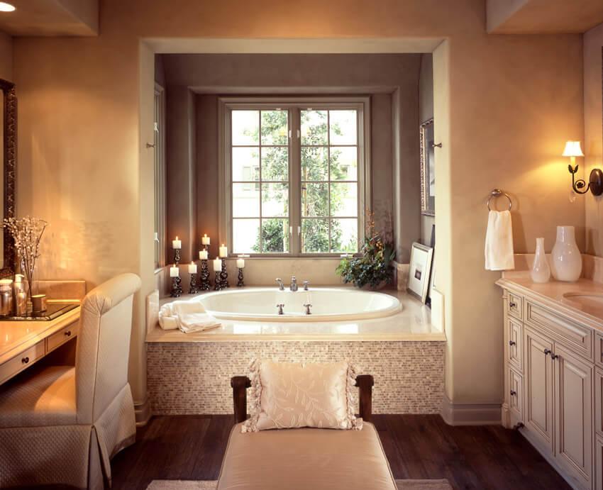 romantic bathroom design with soft lighting