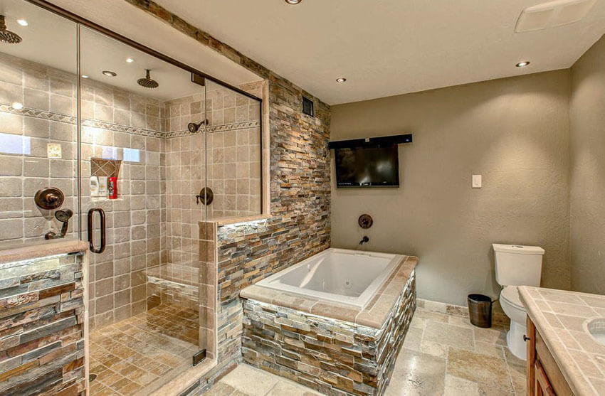 Rustic Bathroom With Travertine Tile Shower And Rainfall Shower Heads