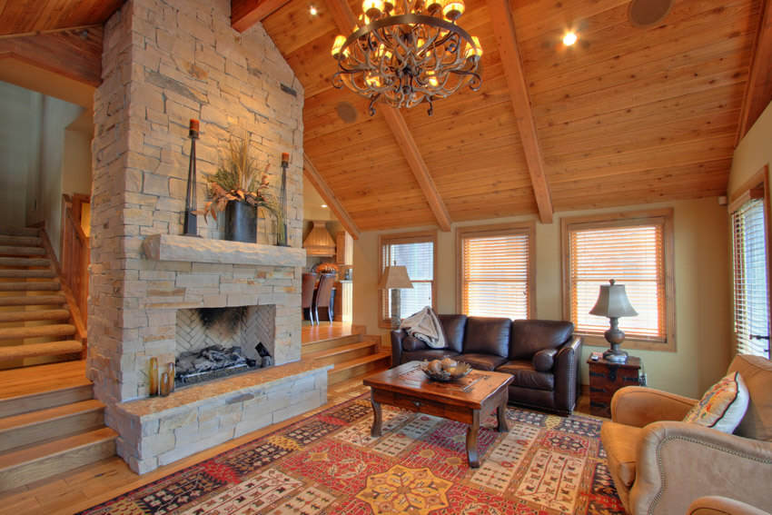 Rustic Wood Living Room With High Ceilings