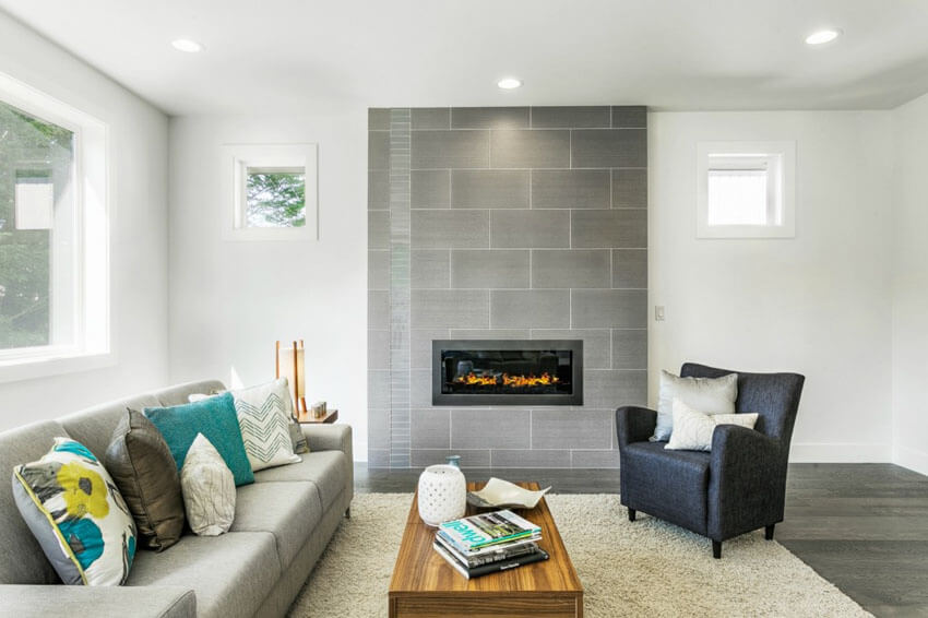 Small Contemporary Living Room With Engineered Hardwood Floors