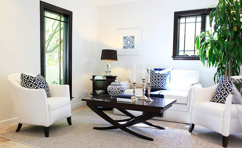 Small Contemporary Living Room With White Club Chairs And Sofa