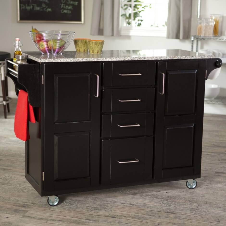 "The four 3"" caster wheels of this portable small kitchen island on wheels make it easy to move around in the kitchen or to the dining area as a side table. The island comes with drawers for additional storage"