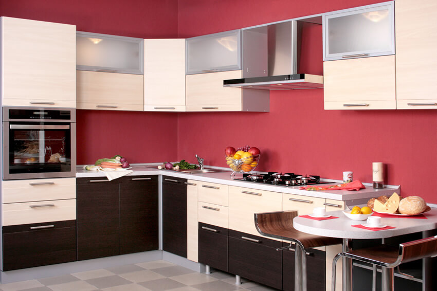 Small Kitchen Red Black White Color Design