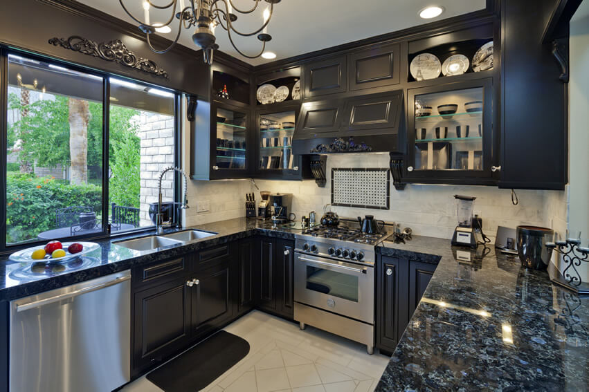 Small Luxury Kitchen Black Cabinets Granite Design