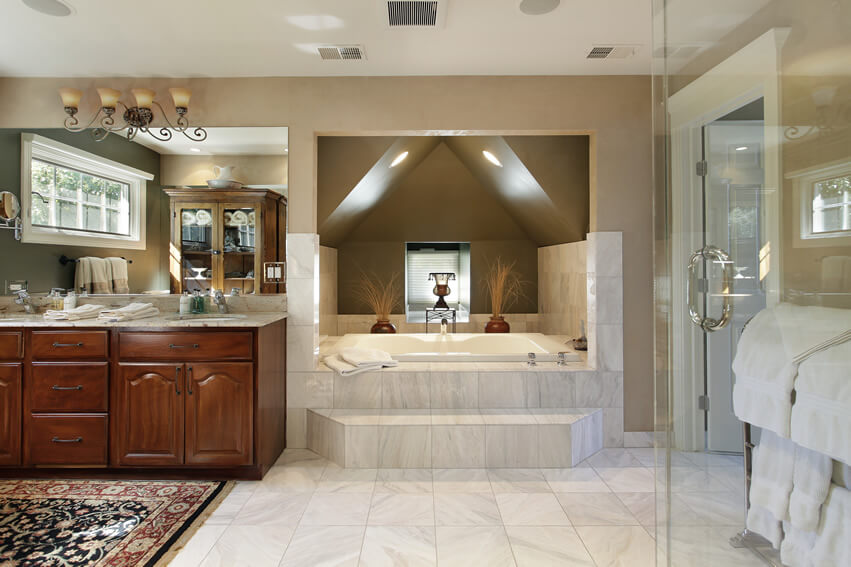 Step up tub master bath wall sconces