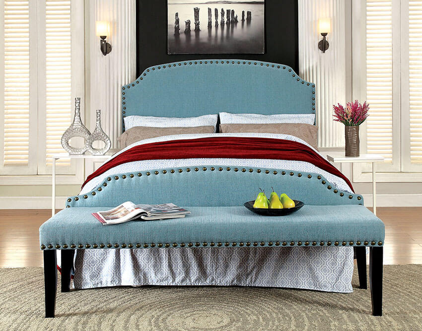 With a matching teal bedroom bench millersburg upholstered fabric at its foot, this stylish bed frame features an upholstery with chic nail head trim along its backrest and base to give the room a softer touch. The bench with its slender tapering legs is carved from solid wood and wood veneer