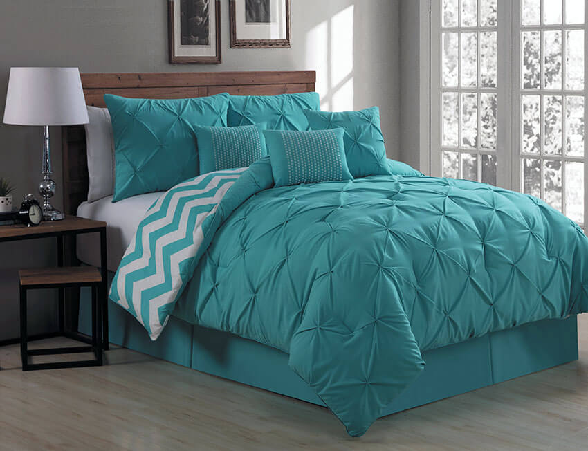 Teal Bedroom Comforter Set Germain Seven Reversible Bed Set