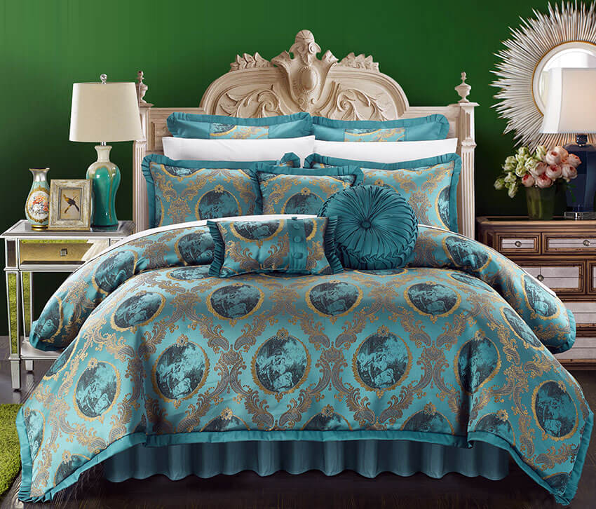 With its with its pleated flanges, embellished pillow shams and decorative pillows, this teal bedroom comforter set romeo and juliet 9 pieces brings a touch of elegance to the room. The bedroom's intricately detailed bedside tables and emerald backwall matched pleasantly with the lampshades
