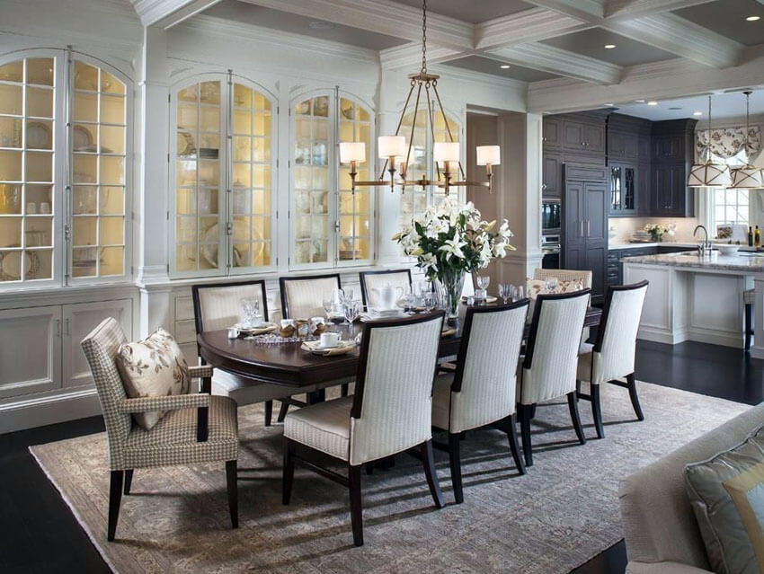 traditional dining room with open layout to kitchen