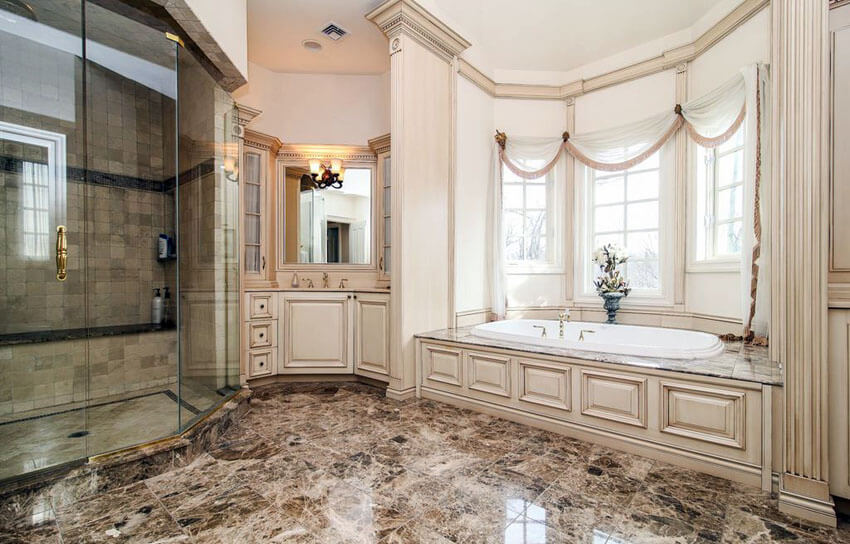 Traditional Luxury Bathroom With Rough Travertine Tile Shower And Large  Enclosed Tubs