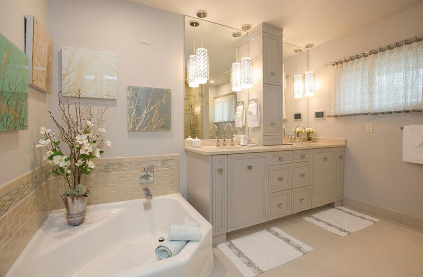 21 bathroom pendant lighting design ideas traditional master bath with pendant lights limestone floor tiles mozeypictures Choice Image