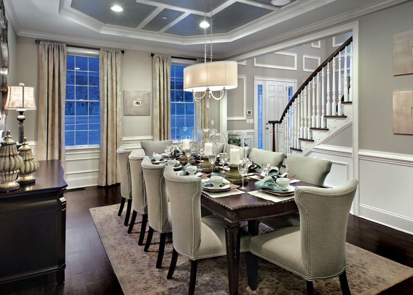 Two tone dining room gray and white with linen shade chandelier