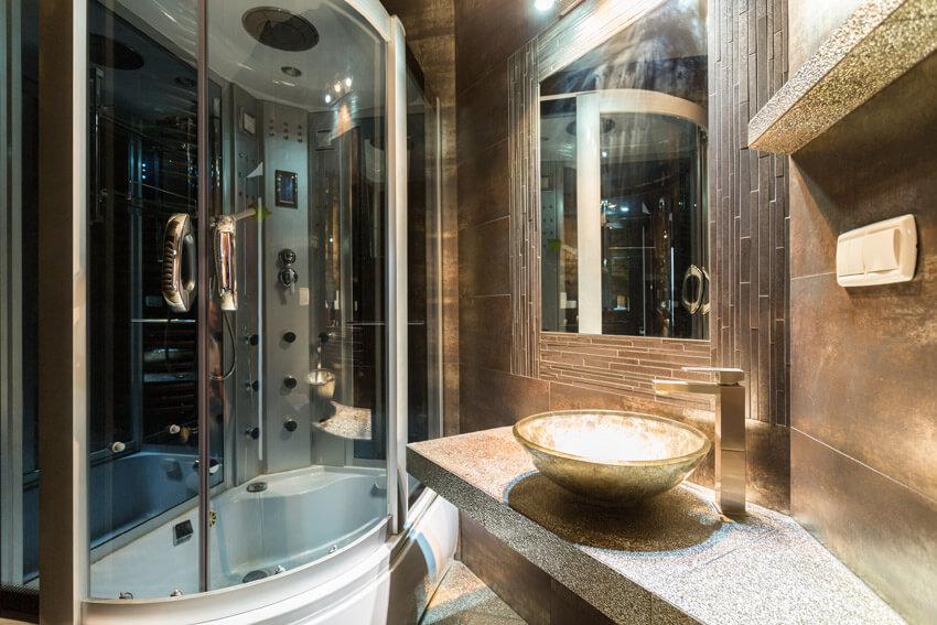 ultra modern dark bathroom
