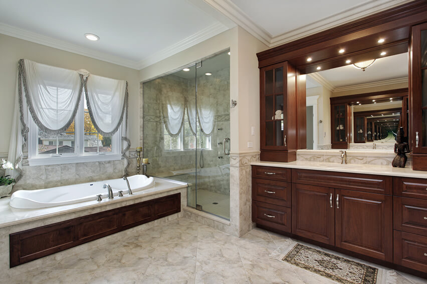 Upscale custom bathroom wood finishing