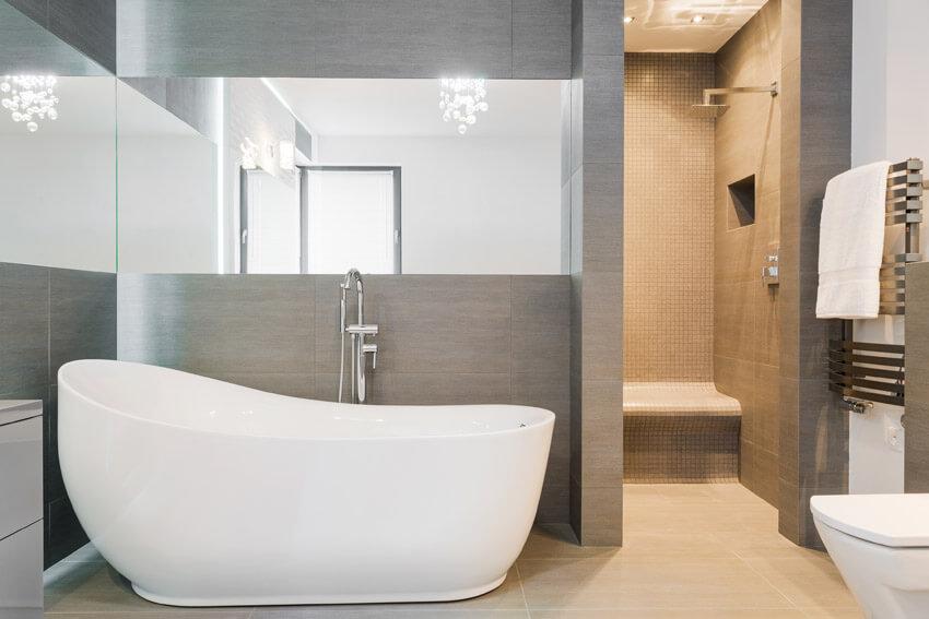 upscale designer bathroom in modern home
