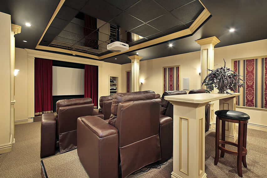 Upscale Home Theater With Projector Screen