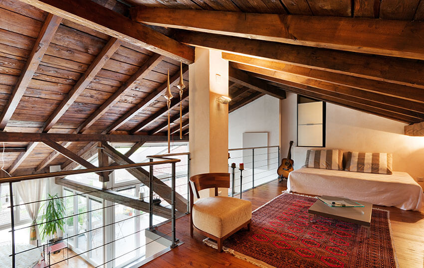 Upstairs Bedroom Loft with Wood Beam Vaulted Ceiling