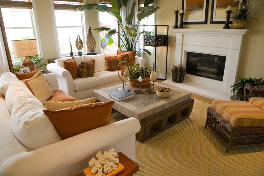 White Couches In Bright Tropical Themed Living Room