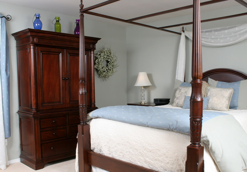 Wood Stained Wardrobe in Bedroom