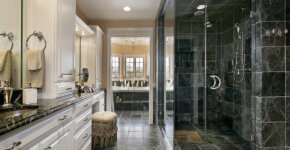 luxury black white bathroom large rainfall shower