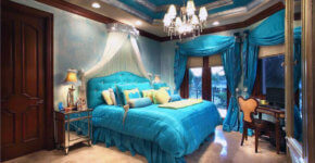beautiful teal bedroom with princess bed curtain and tray ceiling