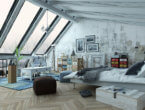 bedroom loft with large slanted wall of windows