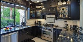 small luxury kitchen black cabinets granite design