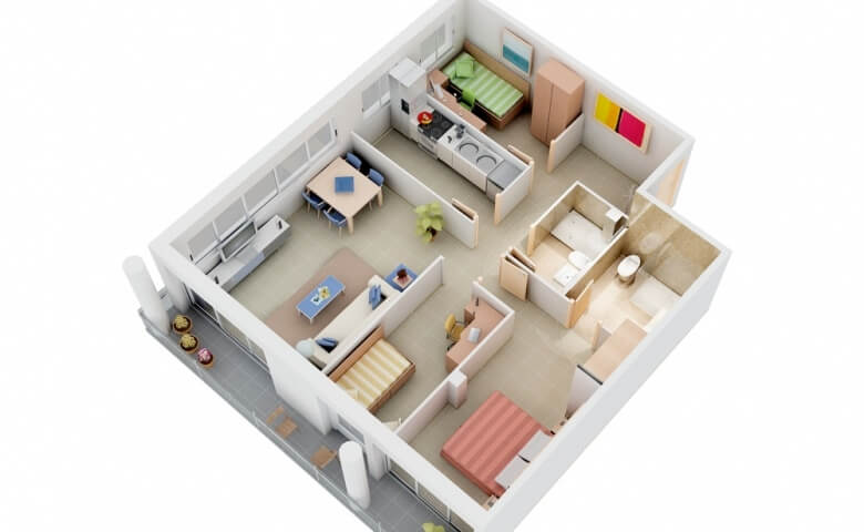 3 Bedroom Small Apartment Plan