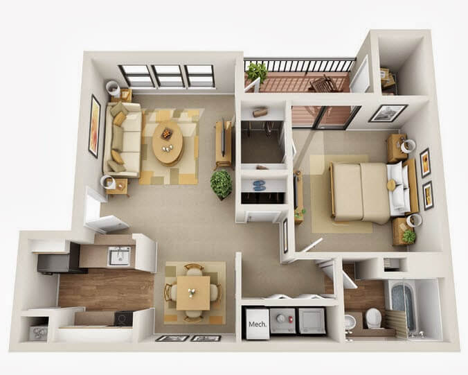 Apartment Plan Small Bedroom With Bathroom