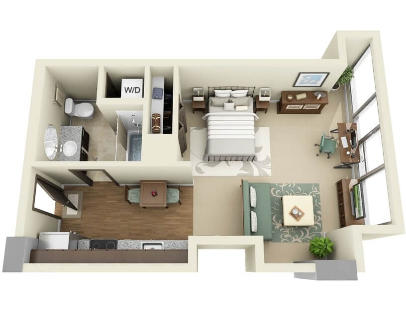Apartment Plan Small One Bedroom With Walk In Kitchen