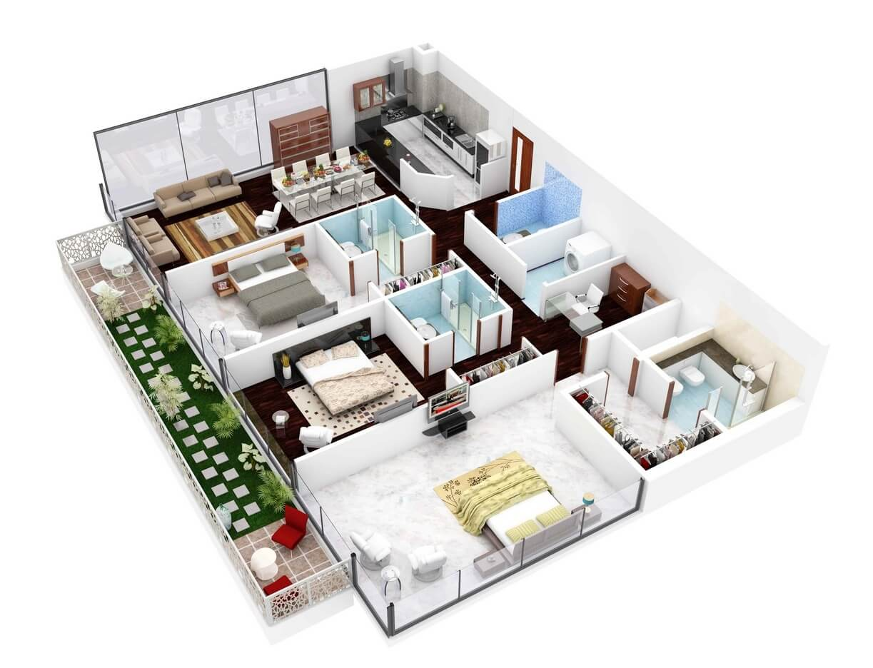 Apartment Plans Of 3 Rooms And Two Balcony
