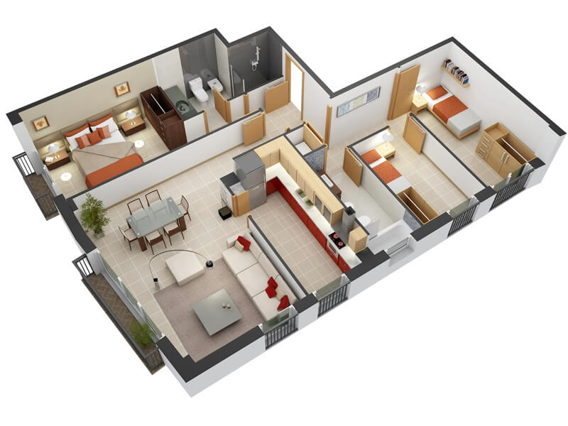 20 Plans for 3-Room Apartments with Modern 3D Designs